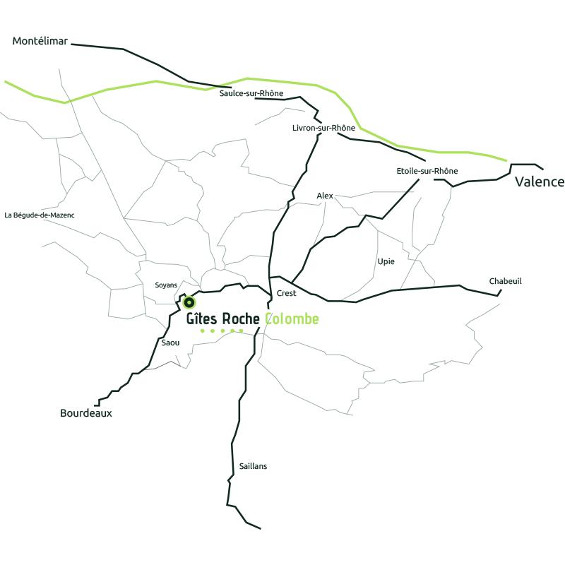 Carte de notre emplacement, Soyans 26400 - Drôme