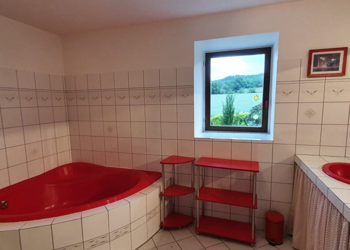 Salle de bain avec grande baignoire